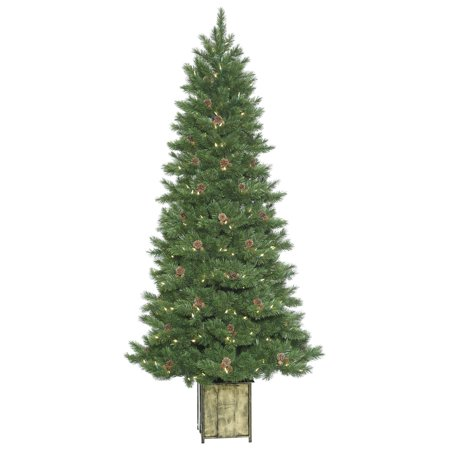 Vickerman Artificial Christmas Tree 7 X 38   Potted Newfield Fir Instant Shape 866 Tips 400 Led Warm White Lights