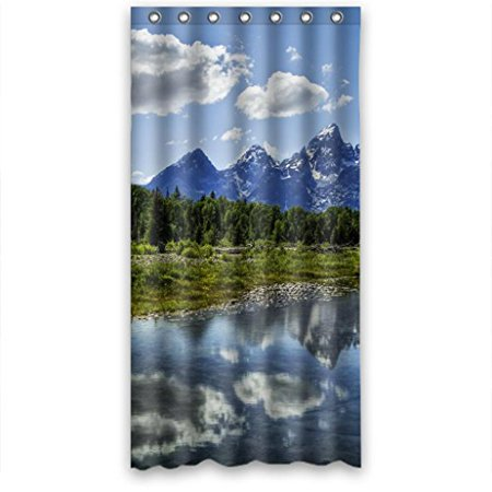 MOHome Blkue Sky Clear River Green Tree Shower Curtain Waterproof Polyester Fabric Size 36x72 Inches