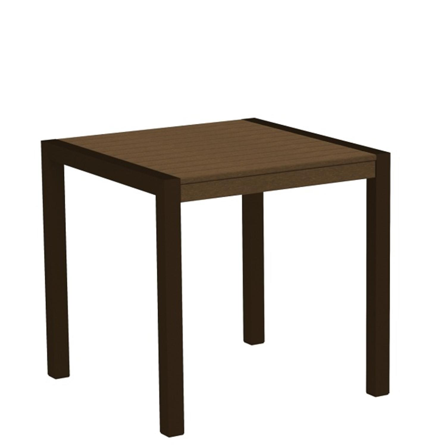 """30"""" Recycled Earth-Friendly Outdoor Bistro Table - Teak with Bronze Frame"""