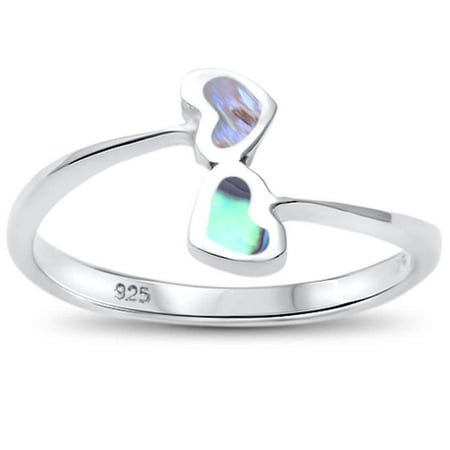 Synthetic Abalone Linked Double Hearts Ring Sterling Silver Size - Sterling Silver 7 Double Ring