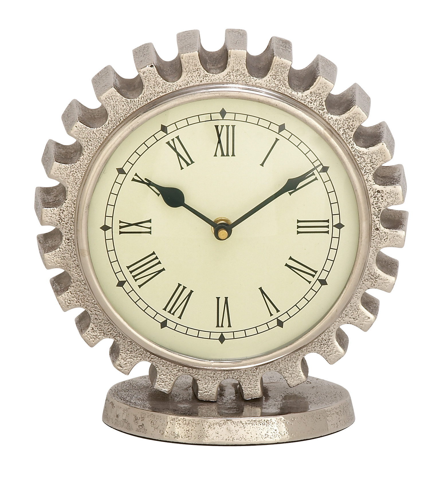 Vintage Reflections ALUMINUM TABLE CLOCK -SILVER