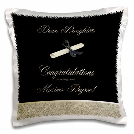 3dRose Congratulations, Masters Degree, To Daughter, Diploma and Damask - Pillow Case, 16 by (Daughter Pillow)