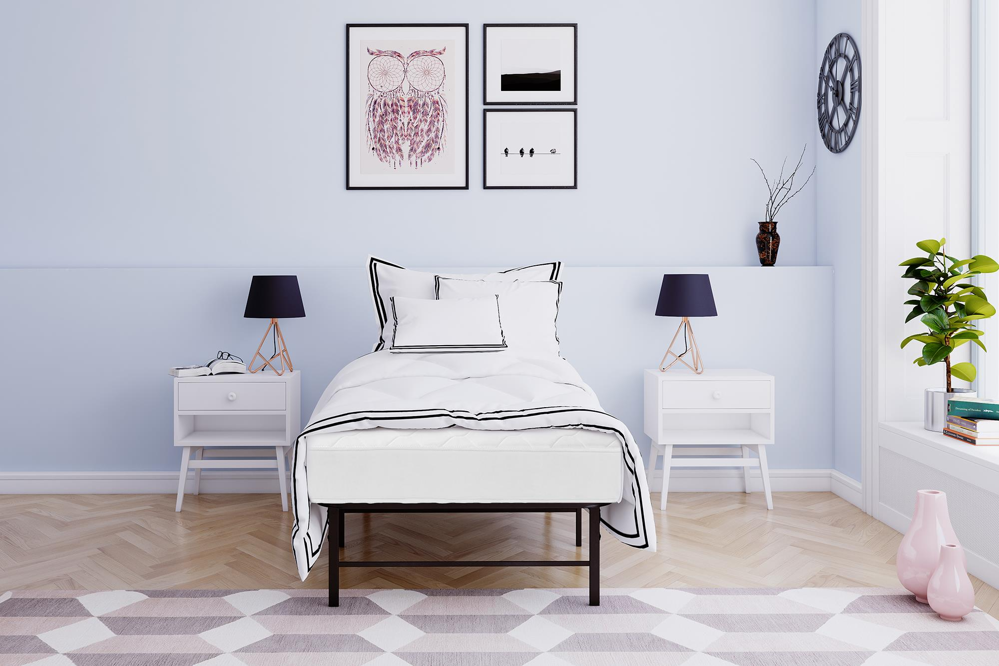 Mainstays 6 Inch Coil Mattress & Metal Platform Bed, Multiple