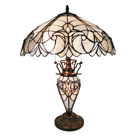- Amora Lighting AM203TL18 Tiffany Style Floral White Double Lit Table Lamp 23