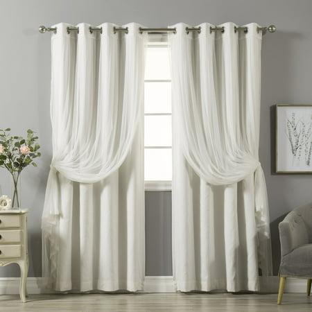 Aurora home mix match curtains cotton blackout and tulle for Mix and match curtains colors