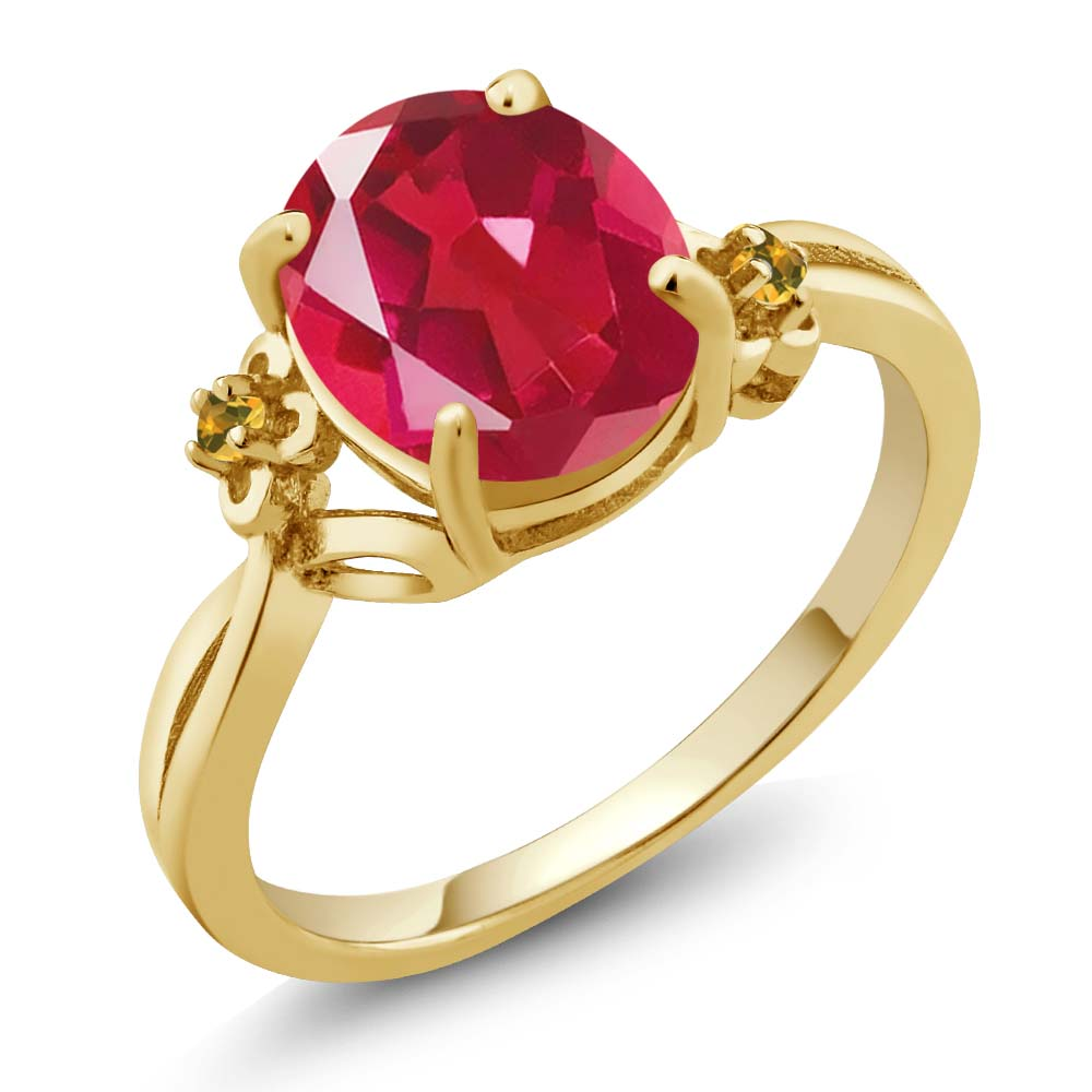 2.52 Ct Oval Pink Mystic Quartz Yellow Simulated Citrine 18K Yellow Gold Ring by