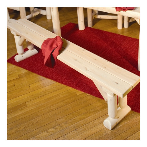 Cedar Dining Table Bench in Log Style Seats Three