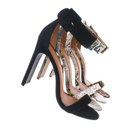 Thalia6 by X2B, Barely There Thin Wide Block High Heel Sandal -Ankle Strap Open Toe Shoe (Rainbow Sandals Thin Strap)