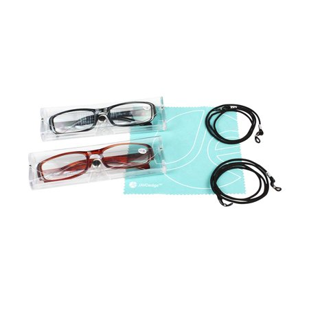 JE (2 PACK-Black, Brown) Classic Frame Unisex Powered Reading Glasses Bonus 2 Protective Cases and 2 Reading Next Straps ()