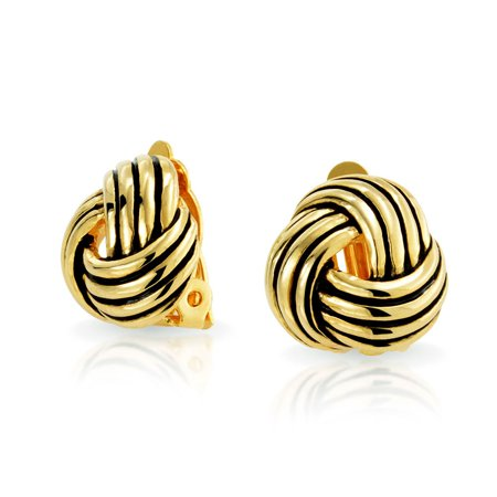 Rope Cable Love Knot Clip On Earring For Women Non Pierced Ears Black Oxidized Silver 14K Gold Plated Brass Antique Gold Brass Jewelry Earring