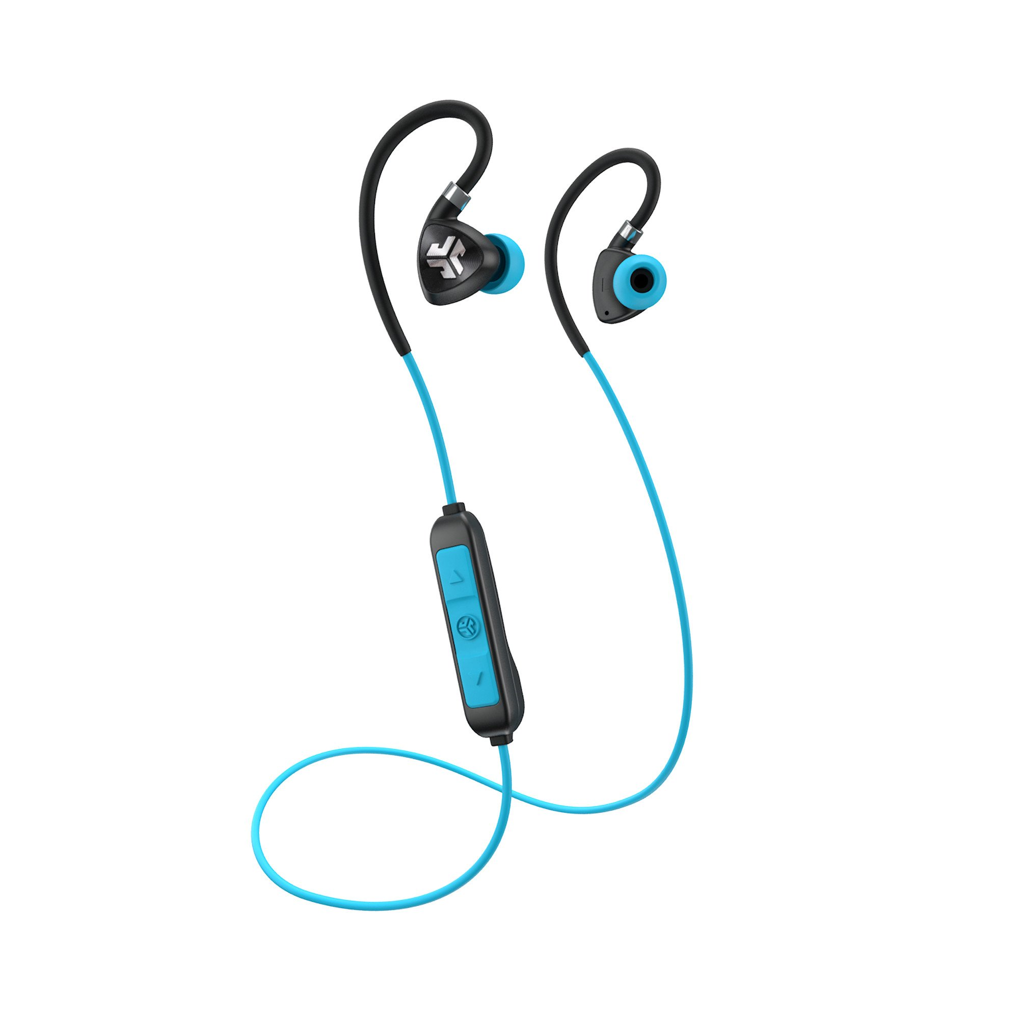 JLab Audio Fit 2.0 Bluetooth Wireless Sport Earbuds - Black / Blue - Titanium 10mm Drivers 6 Hour Battery Life Bluetooth 4.1 IP55 Sweat Proof Rating Extra Gel Tips Flexible Memory Wire