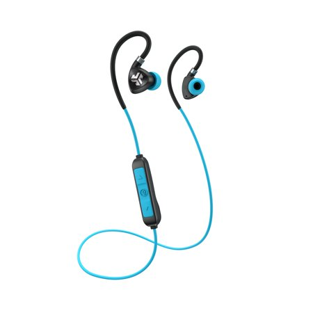 JLab Audio Fit 2.0 Bluetooth Wireless Sport Earbuds - Black / Blue - Titanium 10mm Drivers 6 Hour Battery Life Bluetooth 4.1 IP55 Sweat Proof Rating Extra Gel Tips Flexible Memory (Best Titanium Wire For Vaping)