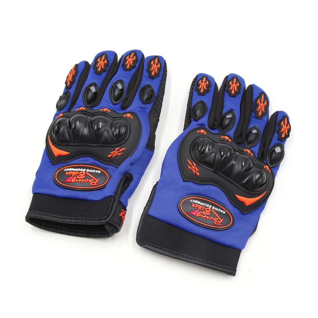 Pair L Size Motorcycle Full Finger Nonslip Loop Fastener Racing Gloves Blue