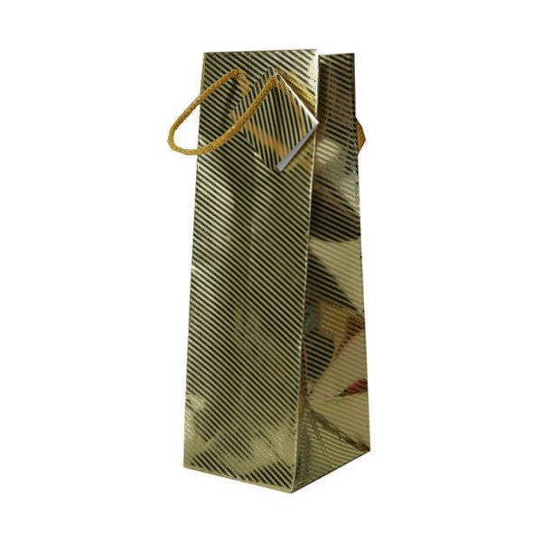 JAM Wine Gift Bags - 5 x 3 1/2 x 13 - Gold Foil Diagonal ...