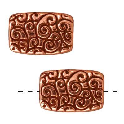 Copper Plated Pewter Scroll Rectangle Beads 13.7mm (2)
