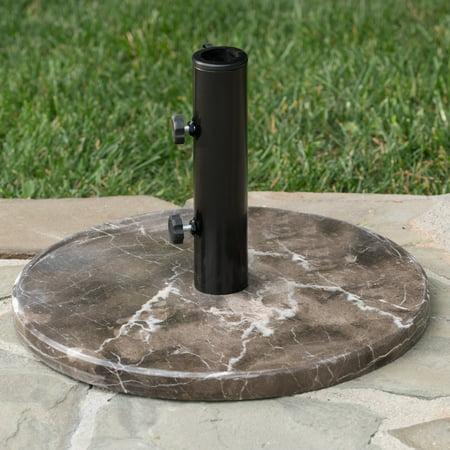 Marquise Outdoor Granite and Steel Unbrella Base, Coffee, Black - Granite Umbrella Base