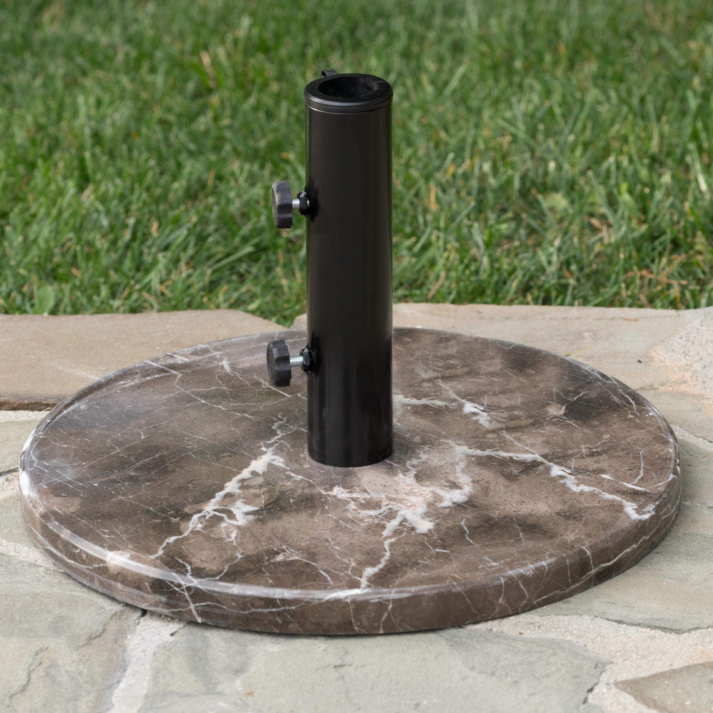 Marquise Outdoor Granite and Steel Unbrella Base, Coffee, Black