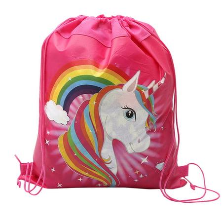 Cute Unicorn School Bag Girl Drawstring Bag Children Non Woven Fabric Handbag Rainbow Unicorn Snack Backpack Non Woven Drawstring Bag