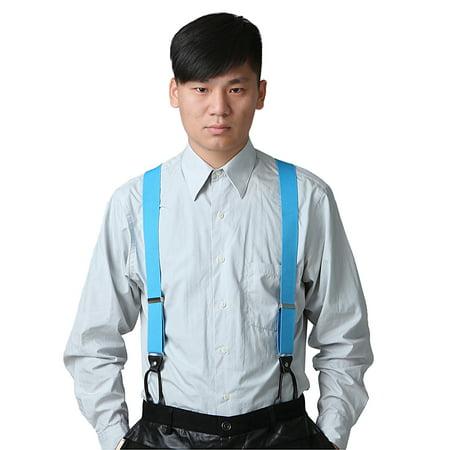 HDE Mens Button End Y Back Adjustable Dress Suspenders (Sky Blue)