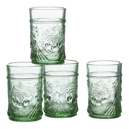 Vintage Juice Glass - William Roberts™ Pressed Juice Glasses, Set of 4, Vintage Green