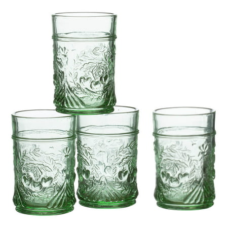 William Roberts™ Pressed Juice Glasses, Set of 4, Vintage Green