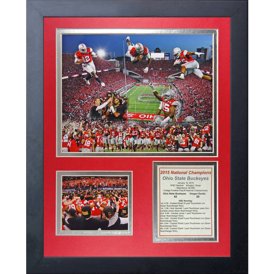 NCAA Ohio State Buckeyes (2014 CFP Football National Champions), Celebration 2, Framed Photo Collage, 11x14, by Legends Never Die