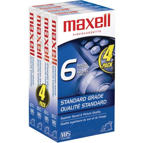 Maxell Standard-Grade VHS Videocassette, Pack of 4