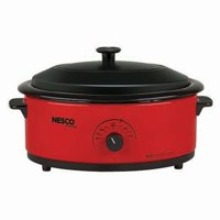 NESCO 6 Quart Red Roaster Oven with Porcelain Cookwell