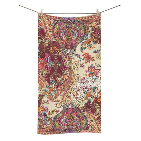 MYPOP Jacobean Floral Shower Towel Bathroom Bath Towel 30x56 inches (Floral Bath Towels)