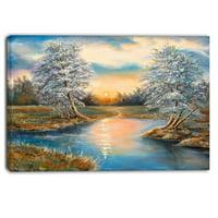 DESIGN ART Designart - Birches in Autumn Wood - Landscape Canvas Art Print - Blue