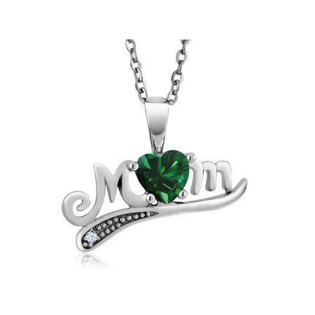 0.36 Ct Heart Shape Green Simulated Emerald 925 Sterling Silver Pendant - Green Pennant