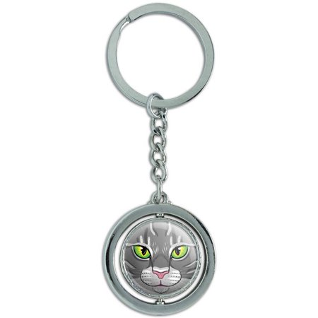 Gray Tabby Cat Face Pet Kitty Spinning Round Metal Key Chain Keychain (Round Faced Cats)