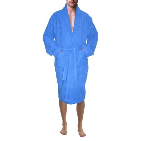Men's 100% Terry Cotton Bathrobe Toweling Robe Blue Large