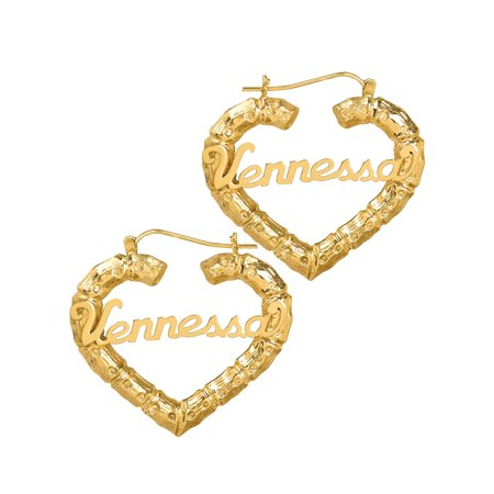 (10K or 14k Yellow Gold Personalized Bamboo Style Heart Polished Name Earrings)
