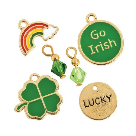 Fun Express - St Patricks Charm Assortment for St. Patrick's Day - Craft Supplies - Adult Beading - Charms - St. Patrick's Day - 12 Pieces - St Patricks Crafts