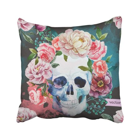 ARTJIA Colorful Floral Watercolor With Flowers And Skull Dark White Sugar Day Dead Drawing Drawn Pillowcase Cover 18x18 inch](Day Of The Dead Hair Flowers)