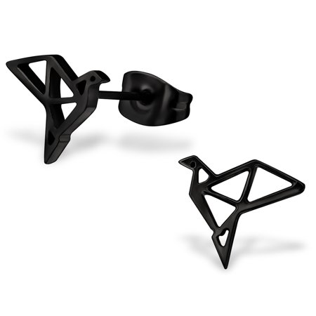 Stainless Steel Bird Origami Cut-Out Stud Post Earrings