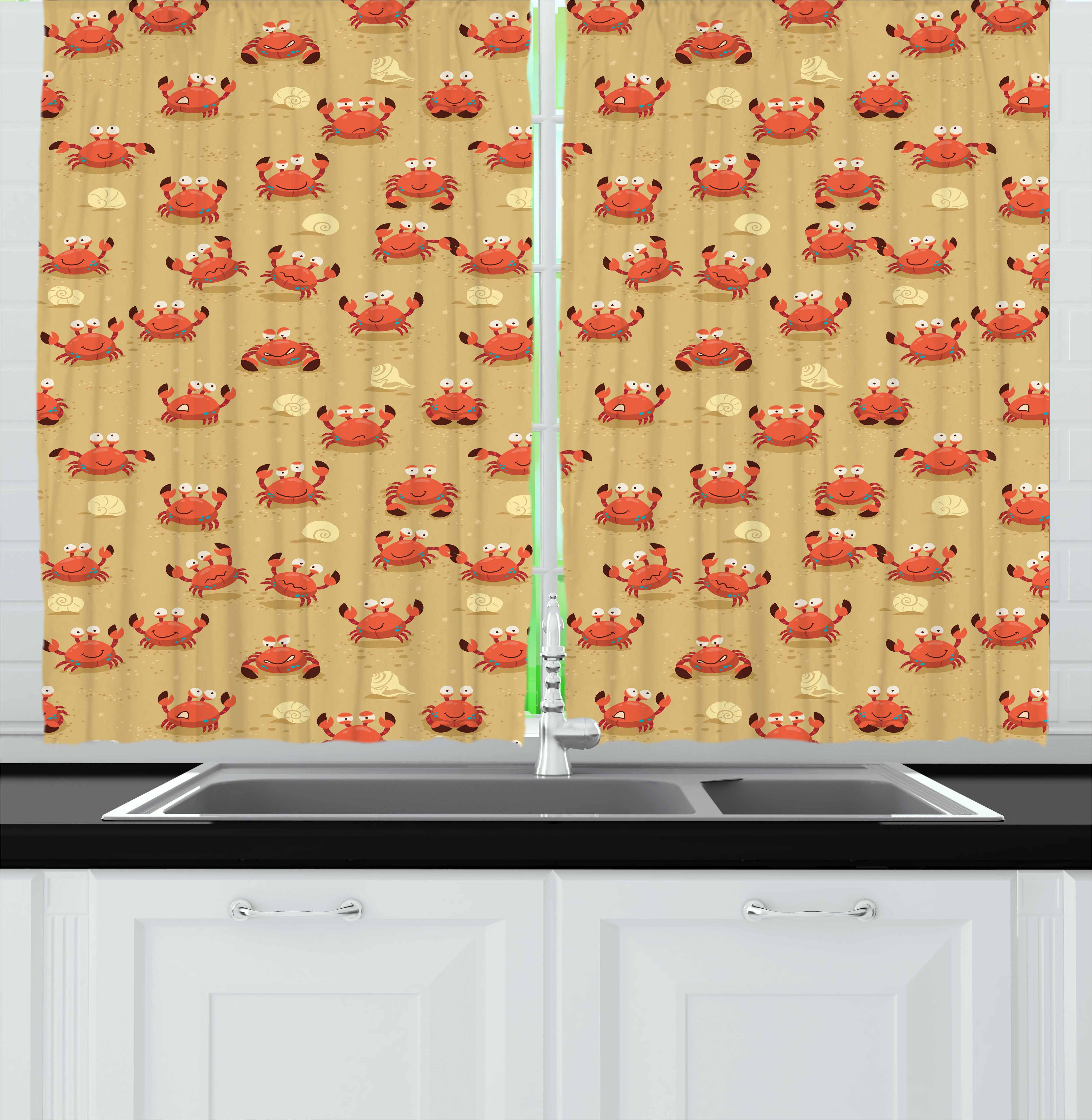 Crabs Curtains 2 Panels Set, Playful Childish Sea Animals on a Sandy Beach with Shells Kids Design Fauna, Window Drapes for Living Room Bedroom, 55W X 39L Inches, Pale Brown Orange, by Ambesonne