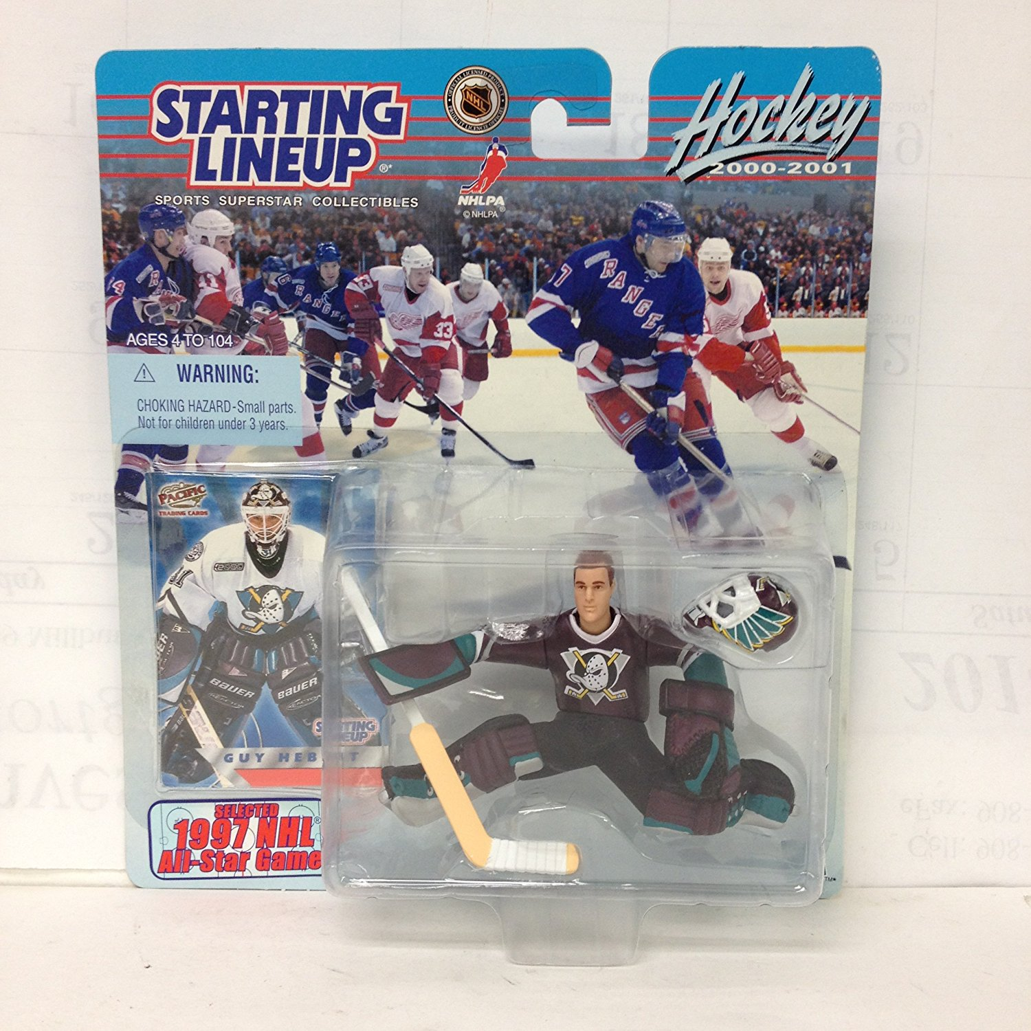 Starting Line Up NHL 2000-2001 Guy Hebert with 1997 Card, Hockey startingline up By Hasbro by
