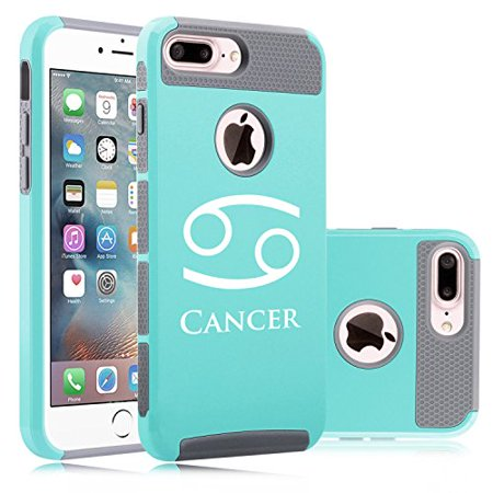(For Apple iPhone (7 Plus) Shockproof Impact Hard Soft Case Cover Cancer Zodiac Horoscope Birth Sign (Teal-Gray))