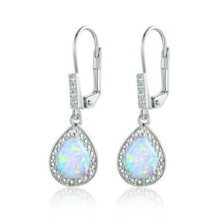 18K White Gold Plated White Fire Opal & Diamond Accent Teardrop Earrings