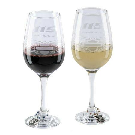 Harley-Davidson 115th Anniversary Wine Glass Set, Set of 14oz. Glasses HDX-98702, Harley Davidson