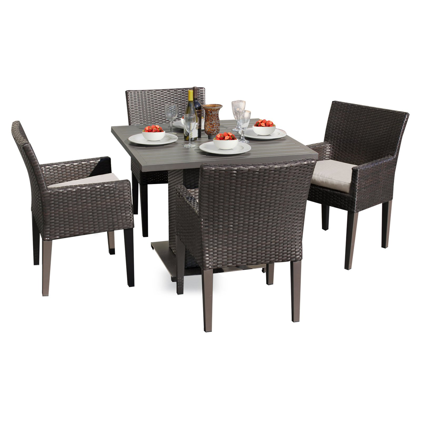 TK Classics Napa Wicker 5 Piece Patio Dining Set with 8 Cushion Covers