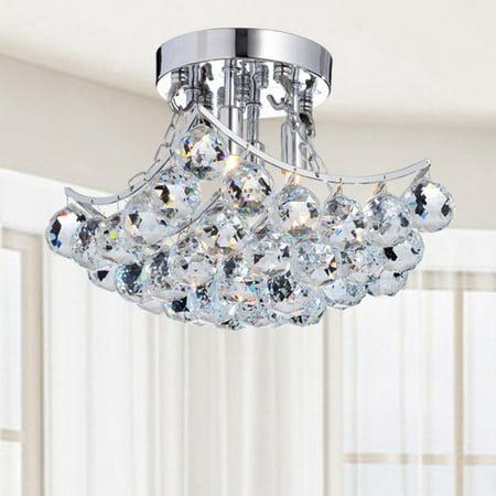 Otis Designs 4 Light Chrome And Crystal Flushmount Chandelier Bcb 001 Ds