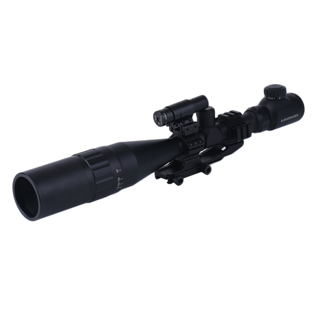 6-24X50 Tactical Riflescope Hunting Light Green Red Dot Rifle Scope Reticle Optical Sight Scope Sunshade Laser Sight,... by