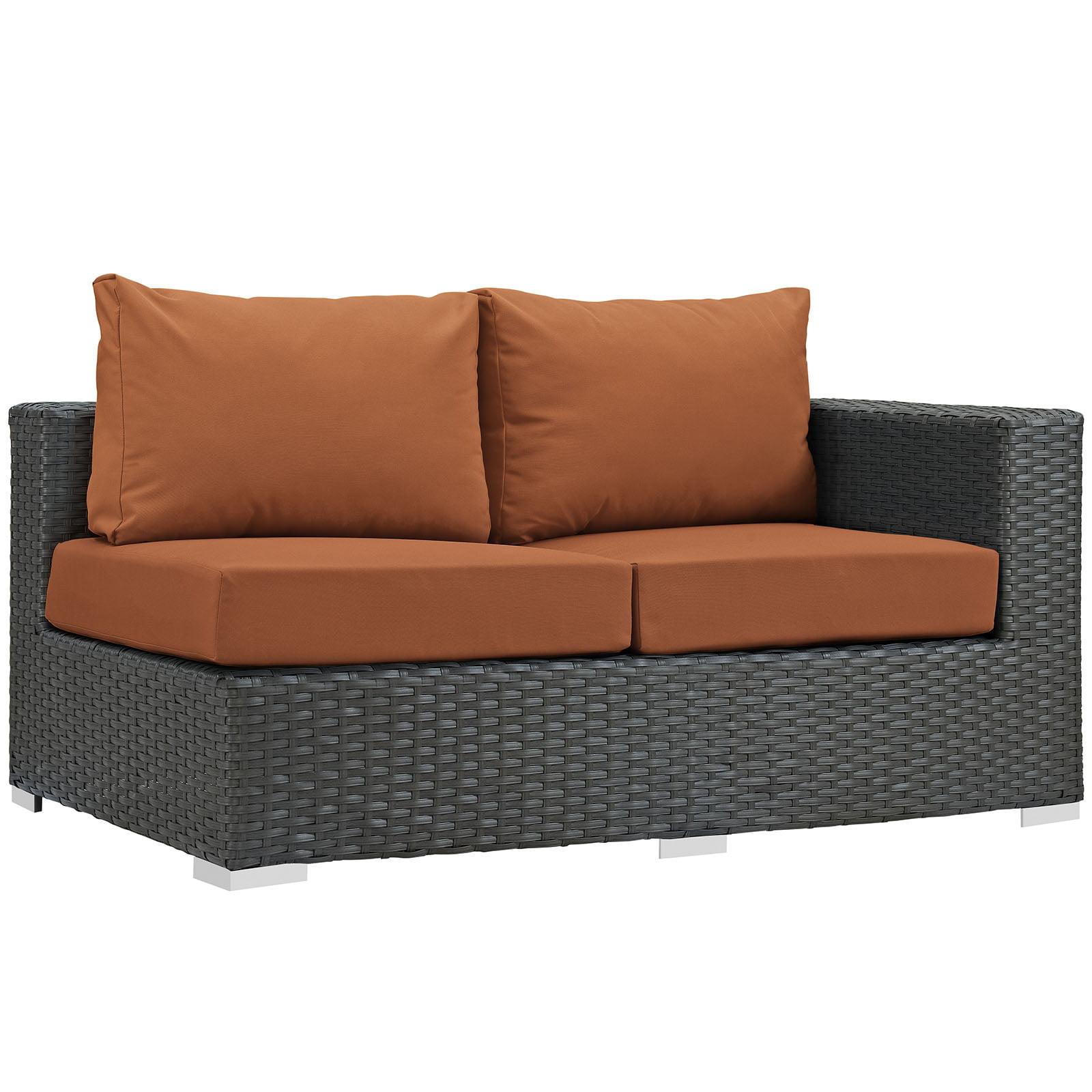 Modern Contemporary Urban Design Outdoor Patio Balcony Right Arm Loveseat Sofa, Orange, Rattan