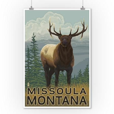 Missoula Montana Elk Scene Lantern Press Poster 9x12 Art Print Wall Decor Travel Poster