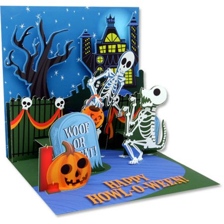 Up With Paper Skeletons Pop-Up Halloween Card](Trump Card Make Up Halloween)