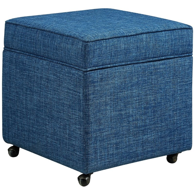Ruby Blue Linen Cube Ottoman Hidden Storage Castered