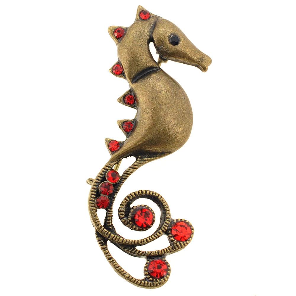 Vintage Red Seahorse Crystal Pin Brooch by